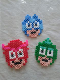 Pj Masks in Pyssla - Hama Beads Melty Bead Patterns, Hama Beads Patterns, Loom Patterns, Beading Patterns, Perler Beads, Fuse Beads, Pixel Art, Art Stuff For Kids, Pearl Beads Pattern