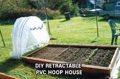 DIY Retractable PVC Hoop House I absolutely love this project. I have posted lots of different PVC green houses and a few PVC raised garden houses too, but none that can retract to expose the whole bed! This is a houses pvc DIY Retractable PVC Hoop House Diy Greenhouse Plans, Small Greenhouse, Greenhouse Wedding, Indoor Greenhouse, Dome Greenhouse, Raised Garden Beds, Raised Beds, Raised Planter, Raised Gardens