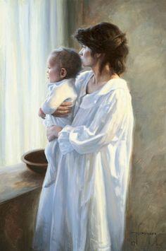 Mãe e Filho - Pintura de Robert Duncan - USA