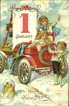 Children with Auto 1 January A Happy New Year