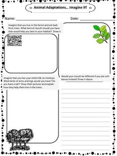 Animal Adaptations, Different what if scenarios that students have to use their previous knowledge of animals and animal physical characteristics in order to complete. This is a good one to use along with a study of the food chain, endangered animals, ecosystems, etc.