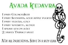 Avada Kedavra- it sounds like liquid death Harry Potter Day, Harry Potter Marathon, Harry Potter Wedding, Bar Drinks, Yummy Drinks, Alcoholic Drinks, Beverages, Disney Mixed Drinks, Harry Potter Cocktails