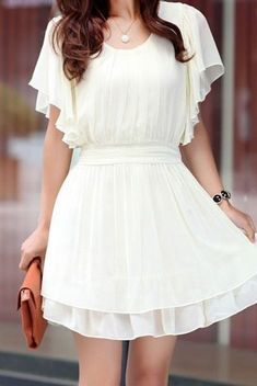 Pretty flowy white dress for summer! <3