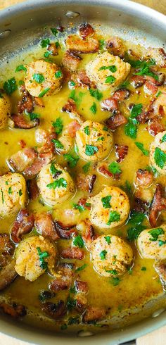 Seared Scallops with Bacon in Lemon Butter Sauce – this tastes just like bacon wrapped scallops but is much easier to make!