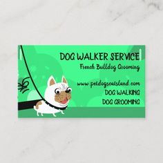 Baby Bulldogs, Pet Sitting Services, Dog Grooming Business, Green Business, Custom Business Cards, Dog Walking, Pet Shop, Neon Green, Pet Dogs