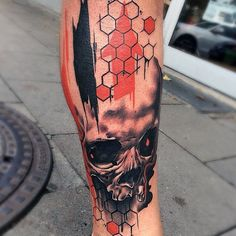 Mens Lower Legs Skull And Honeycomb Tatto With Orange Splashes