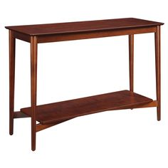 Add a welcoming style to your home with Savannah Console Table. Featuring a broad top panel and a lower shelf for additional storage to showcase lamps, decorative display items, or simply as an accent piece. In a rich Mahogany finish with sleek unique design it's sure to complement any home décor.