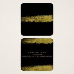 #makeupartist #businesscards - #Elegant Simple Faux Gold Foil Brush StrokeBlack Square Business Card