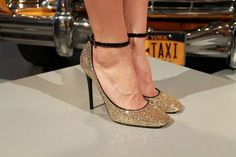 gold glittery ankle strap heels from kate spade fall 2013 {in ...
