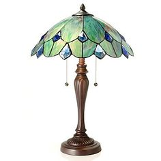 Tiffany-Style 23'' Crystal Ocean Geometrical Stained Glass Table Lamp