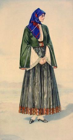 NICOLAS SPERLING Peasant Woman's Dress (Aegean Islands, Skyros) 1930 lithograph on paper after original watercolour Greek Traditional Dress, Traditional Outfits, Ancient Greek Costumes, Greek Dress, Greek Culture, Costume Collection, Period Outfit, Greek Clothing, Folk Costume