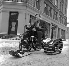 An early motorcycle conversion. Caterpillar treads and a ski....I bet nobody thought it would catch on!