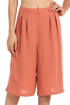 SOLID WOVEN PLEATED CAPRI PANTS-Dusty Rose
