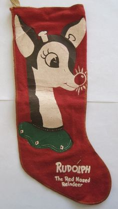 Vintage Rudolph the Red Nosed Reindeer Novelty Felt Christmas Stocking Vintage Christmas Stockings, Antique Christmas, Christmas Past, Vintage Christmas Ornaments, Retro Christmas, Christmas Items, Vintage Holiday, Rustic Christmas, Christmas Crafts