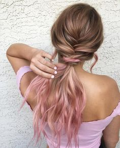 Ombre hair color inspiration,light pink hair color ideas,plait hairstyle,boho hairstyles,prom hairstyles,pastel hair color ideas