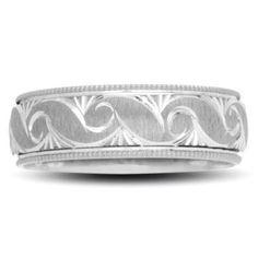 Ladies' 6.0mm Swirl Wedding Band in 10K White Gold