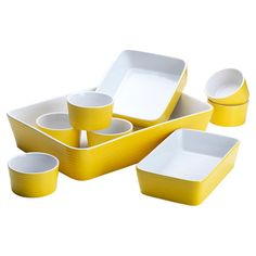 9-piece ceramic bakeware set with a yellow finish.   Product: Large rectangular bakerSmall rectangular bakerSq...