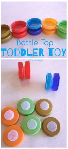 Bottle Top Toddler Toy, bottle tops and Velcro dots make for a lovely colour sorting toy for toddlers! kleinkinder Bottle Top Toddler Toy - Teach Me Mommy Activities For 1 Year Olds, Toddler Learning Activities, Montessori Toddler, Montessori Activities, Hands On Activities, Infant Activities, Toddler Preschool, Toddler Crafts, Kids Learning