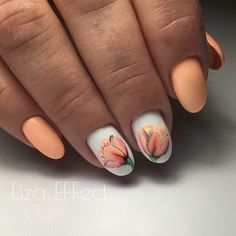 Light polish-Dreamsicle orange nail art and floral design. Creative Nail Designs, Creative Nails, Nail Art Designs, Design Art, Floral Design, Spring Nails, Summer Nails, Trendy Nails, Cute Nails