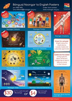Bilingual Noongar to English. Local Aboriginal language of the south west of western australia. Posters suitable for educators. Bright colourful illustrations that everyone will love!! $30 for 9 in a set #education #bilingual #language Aboriginal Language, Aboriginal Education, Indigenous Education, Aboriginal Culture, Aboriginal Art, Primary Teaching, Primary Education, Naidoc Week, English Posters