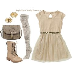 Tween fashion neutral gold