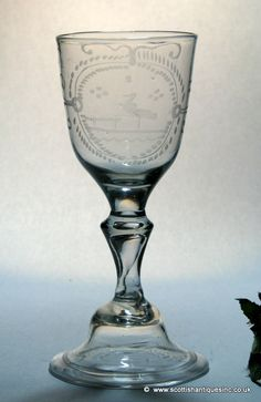 Georgian Engraved Baluster Wine Glass c1750