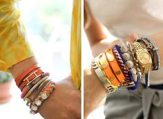 stacked braclets