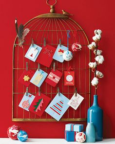 Christmas Card Display - Even a REAL birdcage will do.  Empty preferably