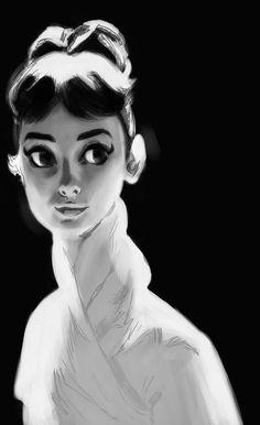 Audrey Hepburn by rikkitikki