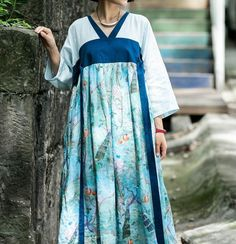 Women ramie Printing summer dress, maxi Dresses, plus size dress, prom dress, dresses with pocket