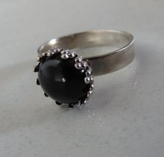 ONYX Silver Ring  Stacking Ring  All sizes  Made to by bgezunt
