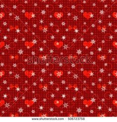 seamless abstract pattern with red hearts in retro style, red background,white snowflakes