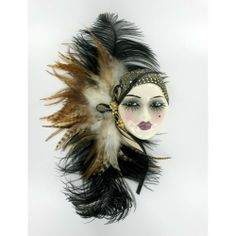 Porcelain Masks Decoration Clay Art Ceramic Face Wall Mask With Feathers Decorative Art