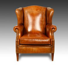 ANTIQUED DUTCH LEATHER LIBRARY CLUB WING BACK LOUNGE ARM CHAIR -- < it's a long way from Home still ... http://www.pinterest.com/pin/507710557966725243/ >