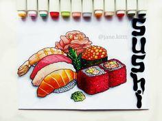 "248 Likes, 12 Comments - Иллюстрации и открытки (@jane.kittt) on Instagram: ""My favorite exotic food - delicious sushi Вот и пятая тема марафона от @nonconformistbaby -…"""