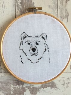 Brown Bear Embroidery by SoLongMySweetLime on Etsy