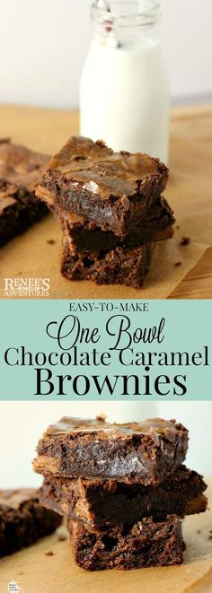 One Bowl Chocolate Caramel Brownies | by Renee's Kitchen Adventures - Easy recipe for a fudgy treat bursting with caramel pockets! This one is my go-to brownie recipe!