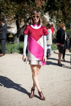 STREET STYLE SPRING 2013: PARIS FASHION WEEK - Anya Ziourova wears a color-blocked two-piece ensemble by new fashion fave Ostwald Helgason.