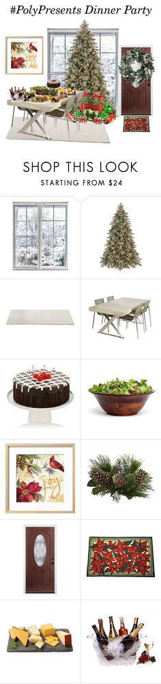 """""""#PolyPresents: Dinner Party"""" by liezeltrisha ❤ liked on Polyvore featuring interior, interiors, interior design, home, home decor, interior decorating, National Tree Company, Alden, Dynamic Rugs and Prodyne"""