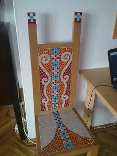 My student's mosaic. Stained glass on wood chair. Mosaic Glass, Stained Glass, Mosaic Furniture, Chair Bench, Ladder Decor, Benches, Stools, Chairs, Crafty