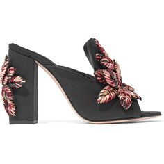 Sanayi313 Curcuma raffia-appliquéd twill mules (€1.110) ❤ liked on Polyvore featuring shoes, heels, sandals, black mules, block heel shoes, black heeled shoes, floral shoes and black high heel shoes