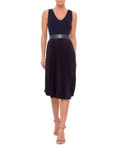 Sleeveless Plisse-Skirt Belted Dress, Navy, Size: 12 - Akris
