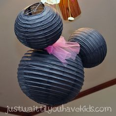 Minnie's-Bowtique-Mouse-Ear made from paper party lanterns