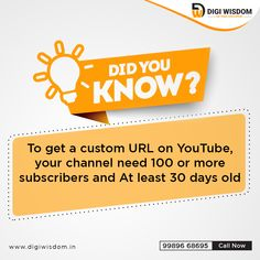 To get a custom URL on facebook, channel should be minimum 30 days old and should have at least 100 subscribers 30 Day, Did You Know, Digital Marketing, The 100, Channel, At Least, How To Get, Wisdom, Facebook