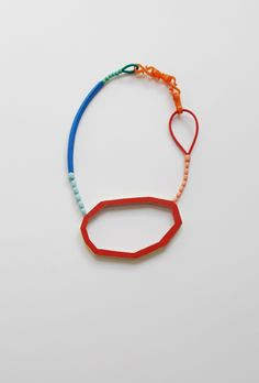 necklace 2012   wood, paint, glass beads, artificial material