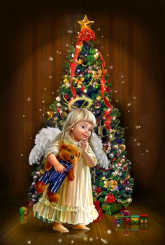 Christmas - little Angel with teddy bear and Christmas tree Whimsical Christmas, Christmas Scenes, Merry Christmas And Happy New Year, Vintage Christmas Cards, Christmas Pictures, Christmas Angels, Christmas Art, Christmas Greetings, Beautiful Christmas