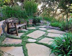 25 Beautiful Landscaping Ideas Adding Beach Stones to Modern Backyard Designs, – natural playground ideas Paving Stone Patio, Paver Path, Stone Pathways, Brick Walkway, Front Walkway, Walkways, Modern Backyard Design, Backyard Designs, Backyard Ideas