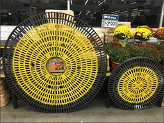 These yellow spray painted Circular Dunnage Racks have been a Fall theme at Walmarts across at least 2 states; Pennsylvania and New Jersey. Having toured 8 separate stores on one recent business tr… Yellow Spray Paint, Autumn Theme, Visual Merchandising, At Least, Indoor, Pennsylvania, Fall, Retail, Separate