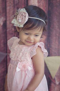 Baby White three Rosette with Jewel and Pearls Baby girl HeadBand