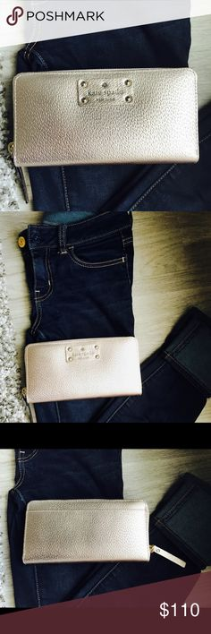 "Kate Spade Wellesley Neda Gold Zip Around Wallet NWT! Gorgeous Kate Spade Wellesley zip around rose gold wallet. Measurements 7.75""L x 1""H x 4.75""W kate spade Bags Wallets"